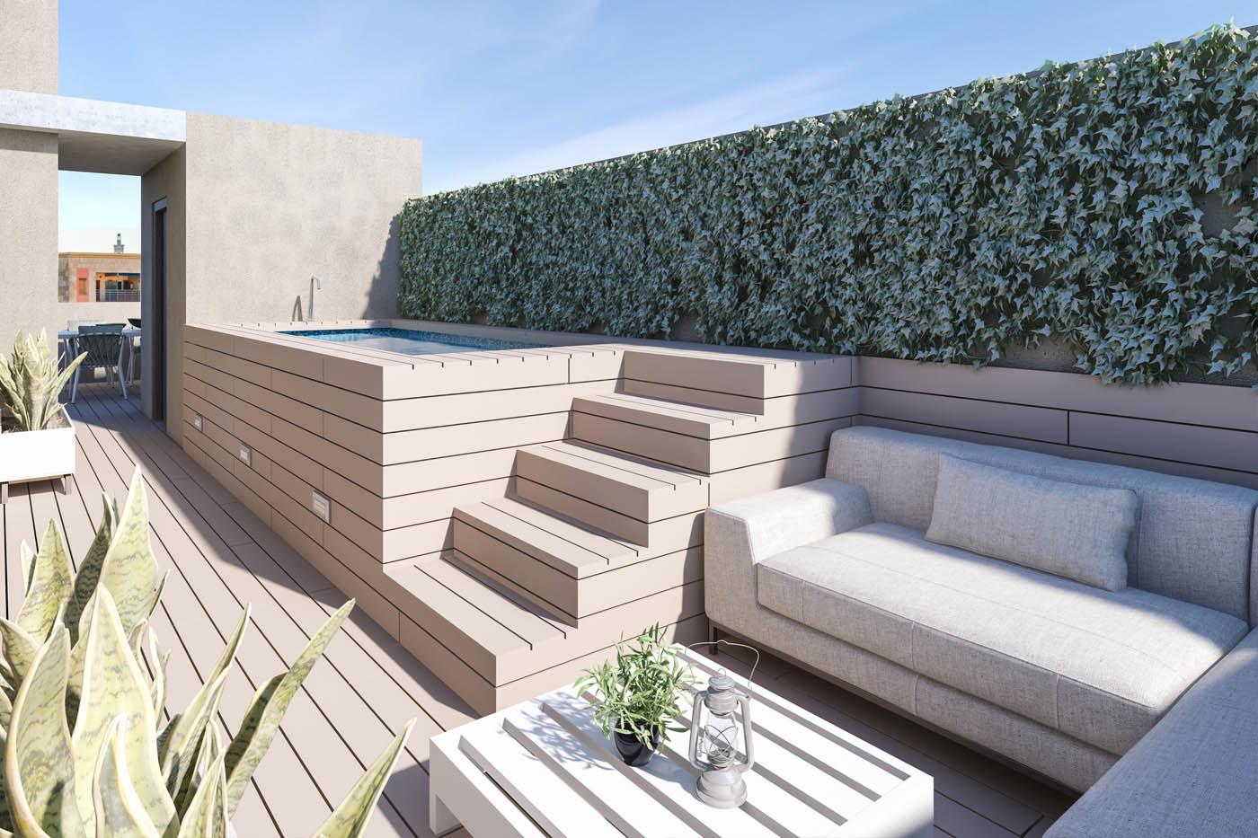 Infografía 3d De Una Terraza En Un Edificio En Barcelona