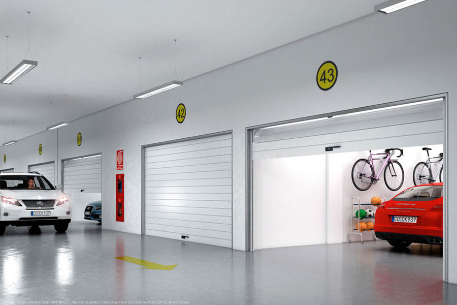 Render interior de un parking