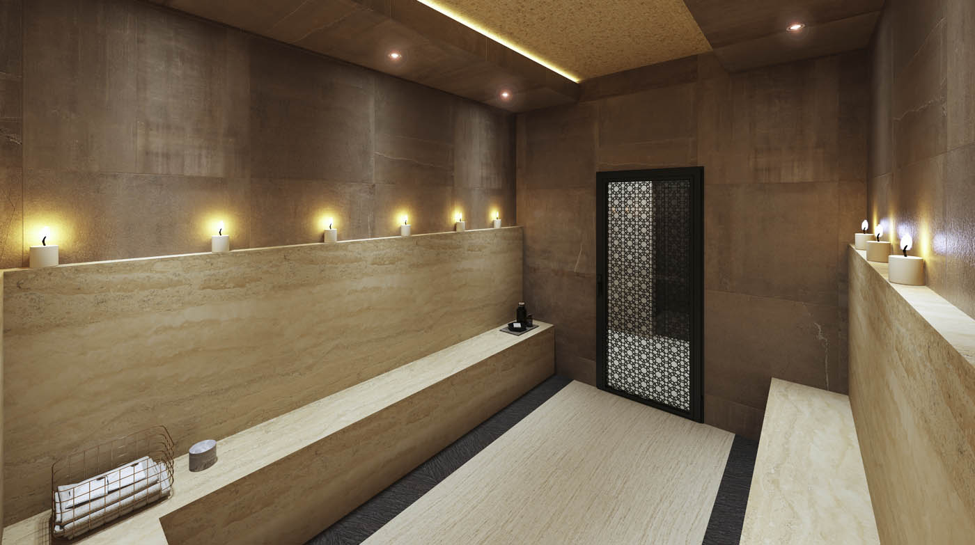 Render 3D de una sauna en un Wellness Center en Gibraltar