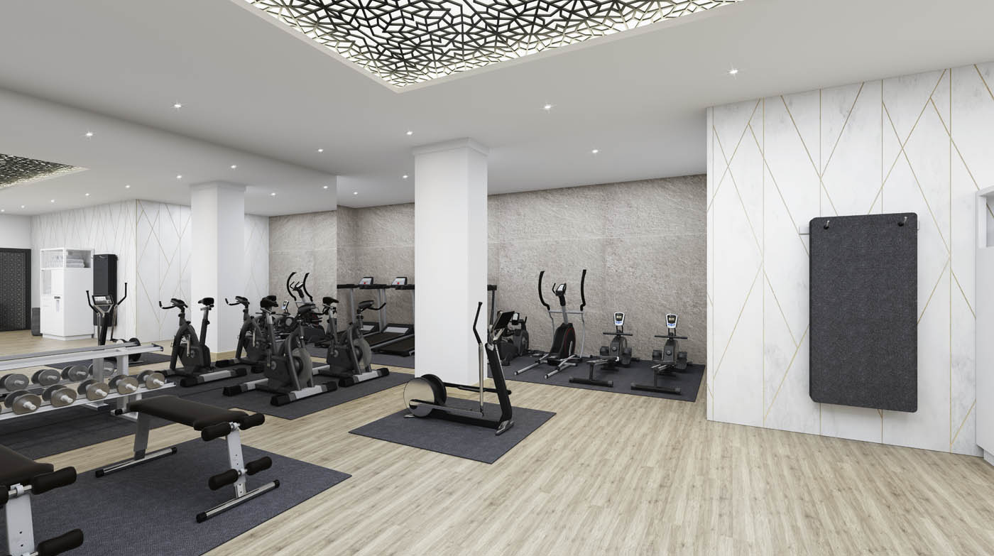 Render 3D del gimnasio de un Wellness Center en Gibraltar