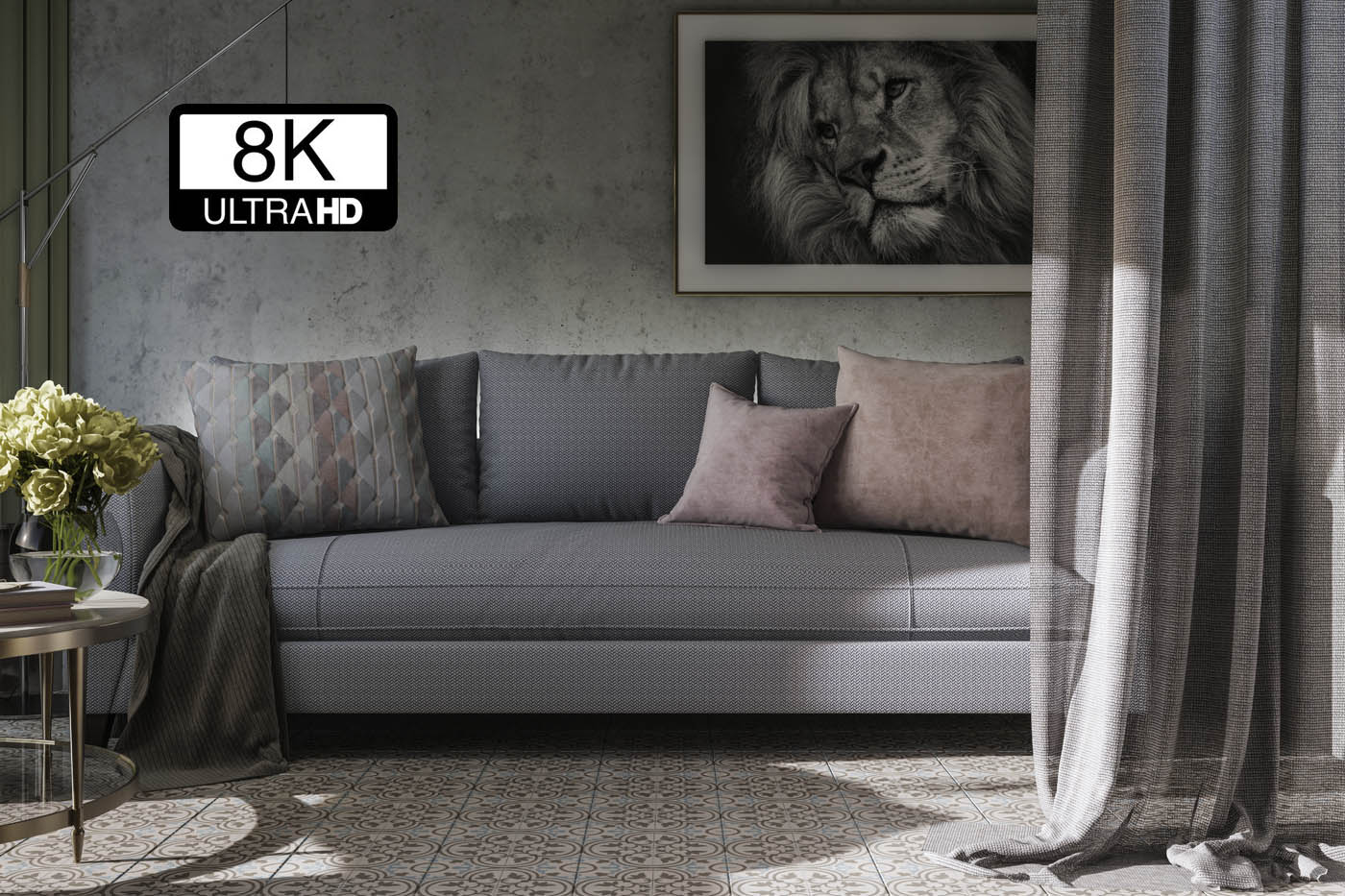 Render 3D de tejidos a resolución 8K Ultra HD